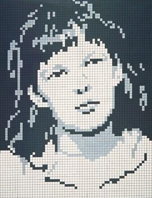 """Öl auf Raster: """"Porträt A. H."""" (1969) von Reinhard Voigt."""