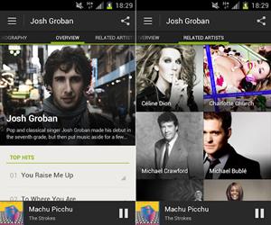 Die neue Android-App wurde grafisch überarbeitet und bietet jetzt hochauflösende Bilder der Künstler.