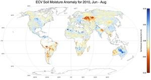 Weltweite Abweichungen vom langjährigen Feuchtigkeits-Mittelwert, Juni bis August 2010.