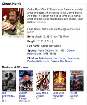 "Googles Scherzbolde verstecken ""Chuck-Norris-Facts"" im Knowledge Graph."