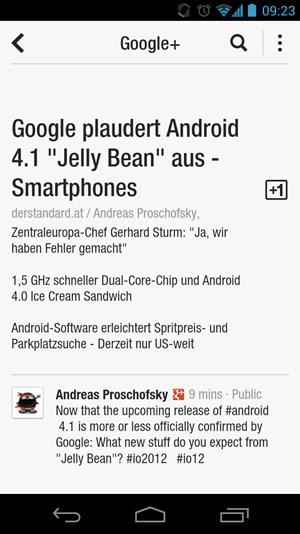 """Die neue Version bietet auch gleich eine Anbindung an Google+, mit der auch """"+1"""" und Kommentare vergeben werden können."""