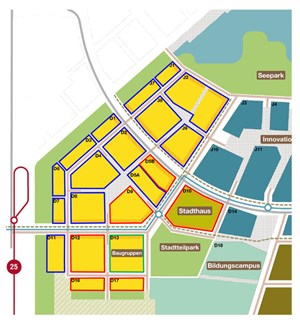 """""""Seestadt Aspern"""", 1. Bauetappe im """"Entwicklungsgebiet Südwest"""": Die blau umrandeten Bauplätze betreffen die Projekte aus der """"Wohnbauinitiative"""", die schon im April bekanntgegeben wurden. Rot markiert sind die Bauplätze, die vom geförderten Wohnbau """"bespielt"""" werden, auf dem grün umrandeten Bauplatz D13 bauen die Baugruppen."""