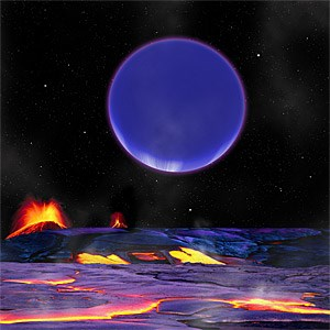 Blick mit heißen Sohlen auf das Panorama, das der aufgehende Gasplanet Kepler-36c bietet.