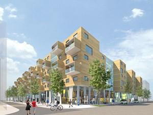 Projekt der EBG auf Bauplatz D12: Drei Gebäudezeilen, die als Holzriegelkonstruktion auf Stahlbeton mit Holzfassade ausgeführt werden. Hier sind 1- bis 5-Zimmer-Wohnungen verfügbar, die Stadt Wien hat außerdem die Möglichkeit von zumietbaren Räumen, etwa zum Arbeiten oder für Gäste, vorgeschrieben.