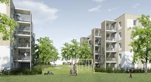 Das Projekt von Arwag und Migra auf den Baufeldern D16 und D17 sieht vier ost-west-orientierte Punkthäuser vor. Hier wird es 2- bis 5-Zimmer-Wohnungen mit flexiblen Grundrissen mit selbstorganisierten Gemeinschaftsflächen geben.