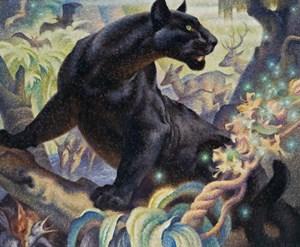 """Deutlich über die angesetzte Grenze sprang  Norbertine Bresslern-Roths mit """"Nacht""""  betitelter schwarzer  Leopard (51.000 Euro exkl. Aufgeld u. Folgerecht)."""