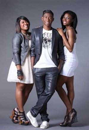V.l.n.r.: Rose Alaba, David Alaba und  Lydia Obute.