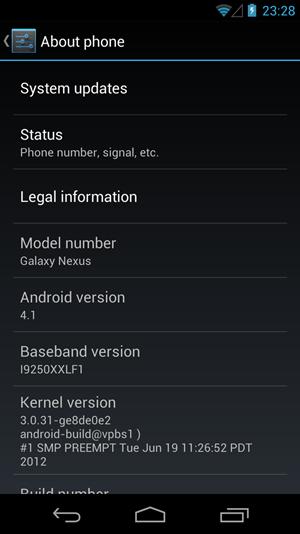 Die derzeit aktuelle Vorversion von Android 4.1 auf einem Galaxy Nexus.