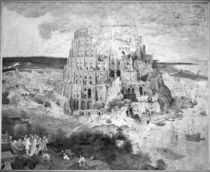 """Infrarot-Reflektographie von Pieter Brueghel d. J. """"Turmbau zu Babel"""": Unter der Malschicht verbergen sich überraschend detailreiche Vorzeichnungen."""