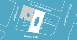Um diese Gebäude geht es: Elisabethstraße 3/Karlsplatz (weiß), Elisabethstraße 5/Operngasse (grau).