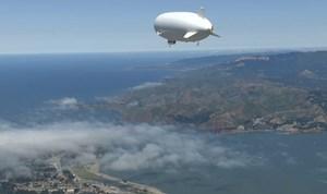 Der Zeppelin aus dem später abgesprungen wurde.