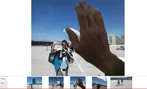 Eine Fallschirmspringerlandung direkt aus Ego-Perspektive im Google+ Hangout zu sehen - möglich gemacht durch die Google Glasses.