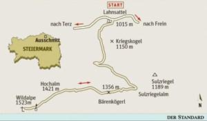 Gesamtgehzeit 4½ Stunden. Höhendifferenz 600 Meter. Wildalm-Hütte auf der Sulzriegelalm (während der Almsaison bewirtschaftet). ÖK25V Blatt 4211-West (Veitsch),  Maßstab 1:25.000