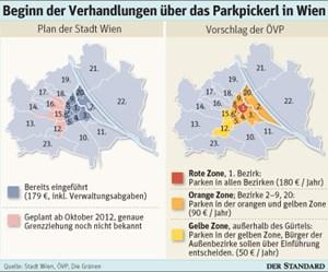 Beim Zonenmodell sind Kurzparkzonen gestaffelt und bezirksübergreifend vorgesehen.