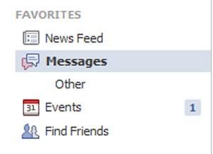 """Nachrichten an @facebook.com-Adressen, die nicht von Freunden kommen landen im Ordner """"Other""""."""