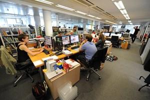 Die Arbeitsräume der Onlineredaktion im vierten Stock der Taborstraße 1-4.