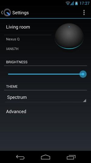 Die Nexus-Q-App selbst ist eher spartanisch gestaltet, erlaubt aber immerhin einige grundlegende Einstellungen.