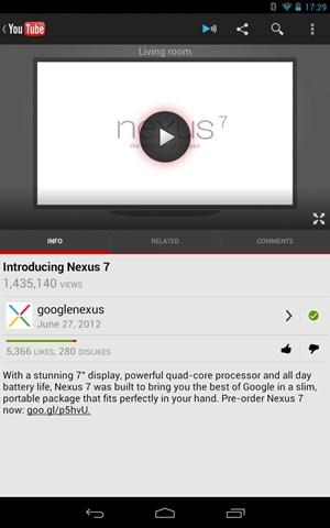 Einmal eingerichtet, findet sich in den unterstützten Apps aus Smartphone oder Tablets ein neue Button mit dem die Ausgabe auf das Nexus Q ausgelagert werden kann.