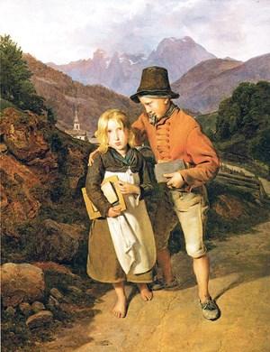"""1990 war Waldmüllers """"Schulgang"""" (1836), vormals im Besitz Amalie Redlichs, bei einer Ausstellung im Kunstforum öffentlich zu sehen. Der jetzige Eigentümer entschloss sich zur Restitution."""