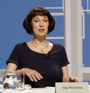 Olga Martynova beim Wettlesen in Klagenfurt