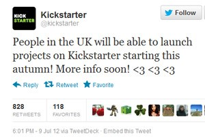 Kickstarter kündigt eine Erweiterung der Projekte auf Großbritannien an