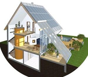 """Das """"Sonnenhaus"""" benötigt einen großen Wassertank, der mit Solarenergie beheizt wird und selbst wochenlang als Wärmespeicher dienen kann. Details dazu finden sich im Baureport (PDF) der Firma Leitl."""