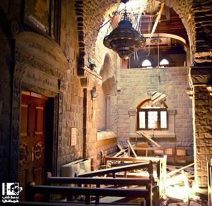 Die Kirche Umm al-Zinar in Homs wurde von mehreren Granaten getroffen.