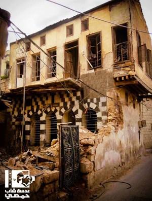 Schwere Schäden in einem historischen Stadtviertel von Homs.