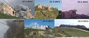 Die Zitadelle von al-Mudiq mehrfach unter schwerem Beschuss. Erste  Siedlungsspuren auf der Anhöhe stammen aus dem vierten Jahrtausend v.Chr. .
