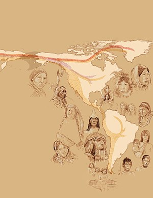 Die ersten Amerikaner kamen vor mehr als 15.000 Jahren über die damals zugefrorene Beringstraße nach Nordamerika (gelb). Weitere zwei Einwanderungswellen folgten.