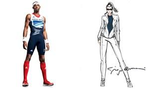 Links Stella McCartneys Entwurf für Großbritannien, rechts eine Skizze der italienischen Mannschaft von Giorgio Armani.