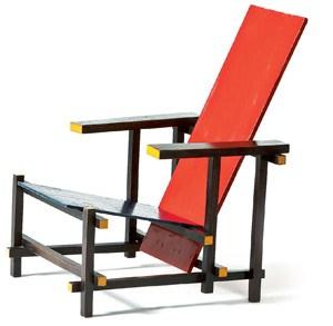 Elementares Sitzen in Rot-Blau-Gelb: Der mit Rietveld identifizierte Stuhl.