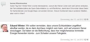 Eduard Winter antwortet auf die Open-Data-Thematik