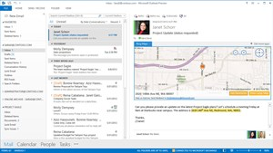 Ein Screenshot von Outlook, mit einer Bing Maps App-Integration