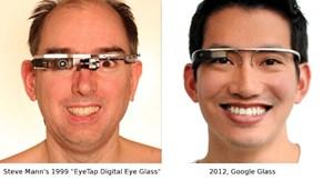 Links: US-Forscher Steve Mann mit seiner Datenbrille. Rechts: Google Glasses.
