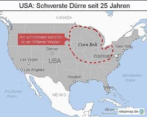 """Vor allem der """"Corn Belt"""" mit den Bundesstaaten Illinois, Indiana, Iowa, Nebraska und Minnesota ist von der Dürre betroffen."""