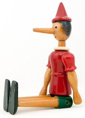 Symbolfigur fürs Schwindeln: Pinocchio.