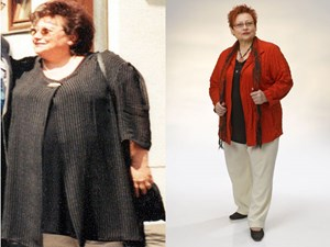 """Grund war auch ihre Selbsterfahrung: """"Ich hatte mich davor von 115 auf 148 Kilogramm hinaufdiätet, bei diesem Höchststand (Bild l., Anm.) unterzog ich mich einer Bypass-OP. Heute wiege ich konstante 85 Kilogramm."""""""