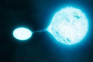 Ein offenbar recht gängiger Prozess im Kosmos: Ein Vampirstern zehrt an seinem viel größeren Partner.