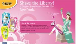 Beim Online-Spiel aus dem Hause Habesohn & Doucha werden der Freiheitsstatue per Mouse-over-Züge die Beine rasiert.