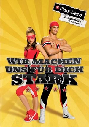 Mr. Smash und seine kleine Schwester sind die Testimonials der neuen Megacard-Kampagne.