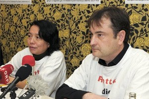 """Monika Mokre und Florian Ruppenstein, Sprecher der Plattform """"Rettet die Akademie der Wissenschaften""""."""