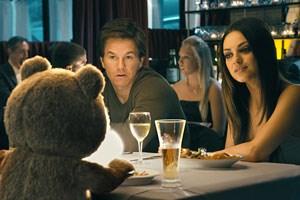 Lebensgemeinschaft mit hoher Gag-Frequenz: Titelbär Ted, sein bester Freund John (Mark Wahlberg) und dessen Freundin Lori (Mila Kunis), die lieber eine teddylose Beziehung führen würde.