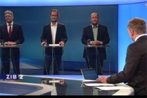V.l.n.r: Peter Kaiser (SPÖ), Gabriel Obernosterer (ÖVP) und Rolf Holub (Grüne) bei Armin Wolf.