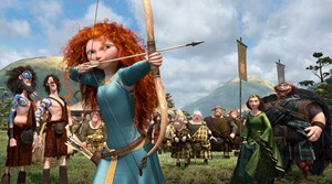 Merida, eine jugendliche Prinzessin  aus dem Hause Pixar, die die männliche Konkurrenz nicht nur  mit Pfeil und Bogen überrascht.