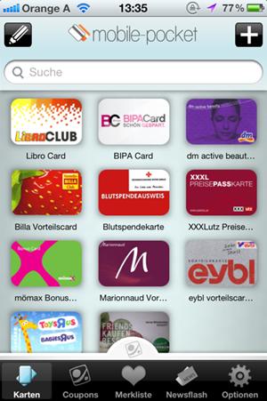 """Apps wie """"Mobile Pocket"""" sollen dem Kunden vor allem eines ersparen: Das Mitführen zahlreicher Kundenkarten"""