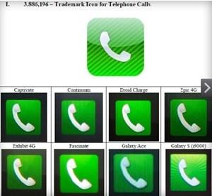 Apple legte dem Gericht einen detaillierten Vergleich von Icons vor.