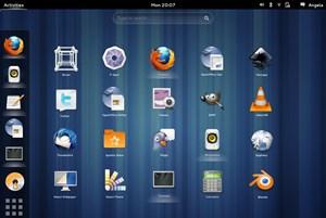 """Parallel zu den Plänen rund um ein eigenes GNOME OS soll auch die Kern-""""User Experience"""" weiter verfeinert werden, im Bild etwa ein Entwurf für eine leicht modifizierte Anwendungsübersicht, die ohne Wechselknöpfe (zwischen Fenster/Anwendungen) links oben auskommt."""
