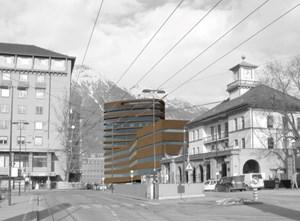 Der dreizehnstöckige Pema-Turm in Innsbruck.