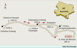 Gesamtgehzeit 5¾ bzw. 3¾ Stunden, Höhendifferenz 650 bzw. 500 m. Kampsteiner Schwaig-Hütte (bis Ende  Oktober bei Schönwetter zwischen 9  und 16 Uhr offen); Feistritzer Schwaig (während der Almsaison offen); Franz-Kaupe-Hütte (bis Ende Oktober offen, Dienstag Ruhetag). ÖK25V Blatt 4218-Ost (Vorau) und  5213-West (Aspang Markt), Maßstab 1:25.000; Freytag & Berndt Atlas  Wiener Hausberge, Maßstab 1:50.000